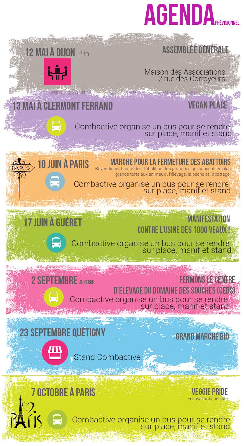Agenda manifs de Mai à Octobre